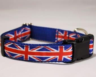 Union Jack 1 in. wide adjustable dog collar