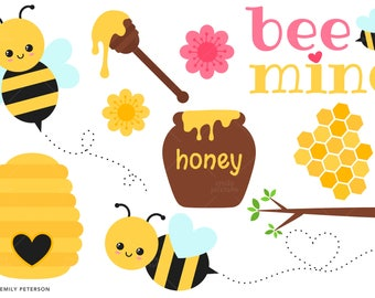 Honeycomb, Honey Bee, Spring, Valentine - Cute Clipart, Clip Art - Commercial Use, Instant Download