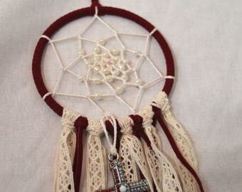 dark red and lace dream catcher