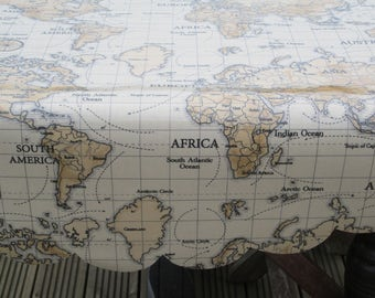 Table linens etsy uk new atlas map antique oil cloth table cloth cover round rectangular scallop edge great for gumiabroncs Gallery