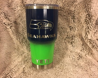 Seattle Seahawks Yeti Rambler Cup Powder Coated Fade Ombre Blue and Green
