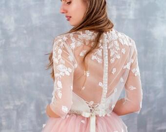 blush wedding dress, two piece wedding dress,tulle wedding dress, bohemian wedding dress, garden wedding dress, wedding dress, lace dress
