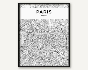 Paris Map Print, Paris Print, Paris Wall Art, Paris Poster, Black and White Map of Paris, Paris City Map, Paris Printable, France Print