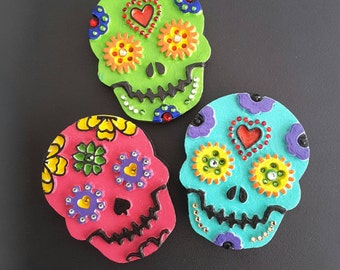 Dia de los Muertos Sugar Skulls  Hand Painted Magnets