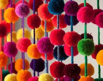 Multicolored Handmade Pom pom Garland /Mexican Wedding Decor/ Mexican handcraft / Party Decor / Girl Decor / Garland Hoops / wholesale