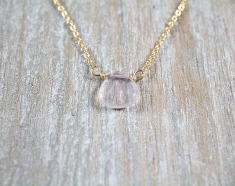 Rose Quartz Pendant with Choice of 14k Gold Filled or 14k Rose Gold Filled or Sterling Silver Dainty Necklace