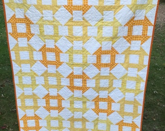 Yellow & White Churn Dash Crib Quilt