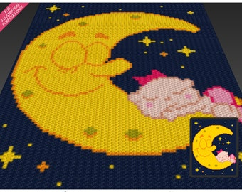Sleeping Baby crochet blanket pattern; c2c, cross stitch; knitting; graph; pdf download; no written counts or row-by-row instructions