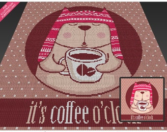 Coffee Cat crochet blanket pattern; c2c, cross stitch; knitting; graph; pdf download; no written counts or row-by-row instructions