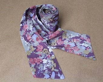 Silk scarf vintage.Shawl Retro.Unisex Scarf.Mens Scarf.Woman Scarf.Vintage Retro.Pink purple gray.Silk Scarf for Men.Long Scarf.Flower Scarf