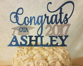 Graduation Cake Topper, Personalized Congrats Glitter Cake Topper, Graduation Party Decoration, 2017 Graduation, Degree Cake Topper