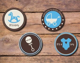 Boy Baby Shower Blue Brown Circle Tag/ Cupcake Topper