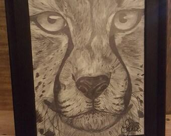 Cheetah Drawing - Framed