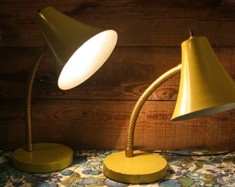 Pair of Vintage Green Lamps