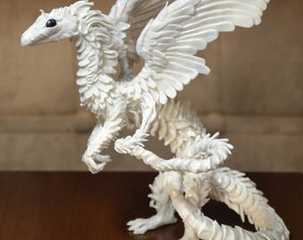 White Dragon Figurine sculpture handmade polymer clay