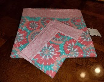 Baby receiving blanket w/ matching burp cloth
