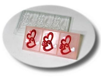 Hearts  ,Plastic Soap Mold for Cutting,3 Bars of Soap