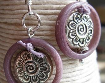 Purple and Silver Earrings, Flower Print Earrings