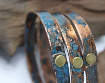 One Copper Bangle Bracelet with a Beautiful Patina  / Gift for Him or Her