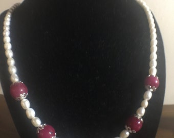Berry Mountain Jade & Cultured Pearl Necklace