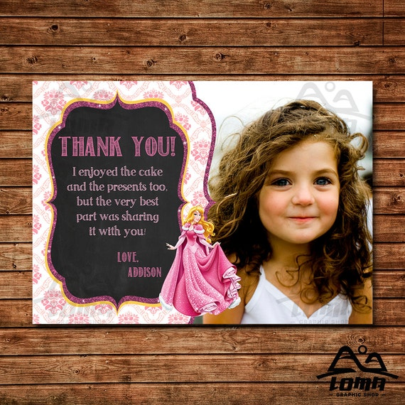Aurora Birthday Thank You, Aurora Birthday, Disney Princess Thank You, Princess Birthday Thank You, Sleeping Beauty, Aurora