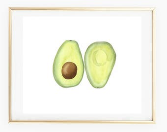 Avocado - Watercolor Art Print, modern watercolor, gift, kitchen decor, vegetable art, gallery