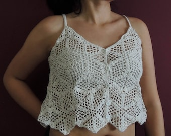 Romantic white crop top, crochet blouse, chic bohemian crop top with buttons, style hippie glam