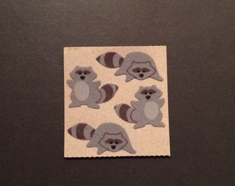 Sandylion vintage 80s very rare fuzzy brown back racoon stickers
