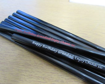 Personalised Black Chopsticks - Choice of Red or White infill on the engraving. UNIQUE & STYLISH, a lovely gift for any occasion!