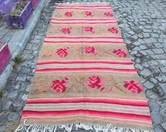 Free Shipping 4.3 ft x 9.9 ft Casucasian Kilim Rug Handmade Casucasian Kilim Rug Casucasian Decorative Kilim Rug Vintage Rug Floor Rug