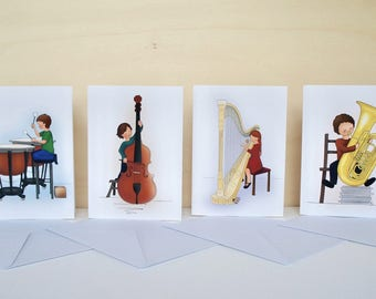 Kids on (too) large instruments | 4 greeting cards