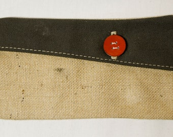 Burlap and canvas travel pouch