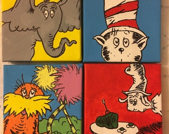 The Cat In The Hat, The Lorax, Dr. Seuss *inspired* mini canvases each 4x4