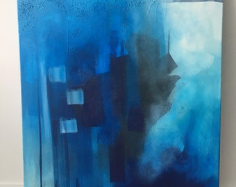 Original abstract acrylic painting  24x28 / The Deep