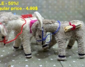 HOT SALE - 50%! Toy Donkey, Handmade, Natural Felt