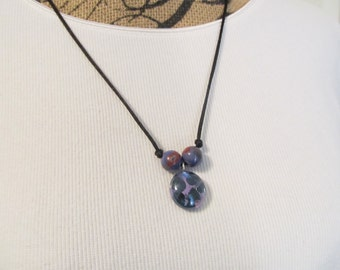 Long necklace, purple glass pendant and beads, unique jewelry, Boho jewelry