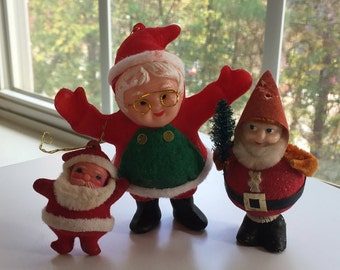 Vintage Set Lot of 3 Figures, Flocked Santa, Elf with Glasses, Spun Cotton Elf with tree, Red and Green Christmas Ornaments Decorations