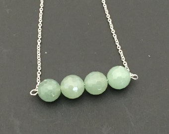 Sterling Silver and Green Adventurine Bar Necklace