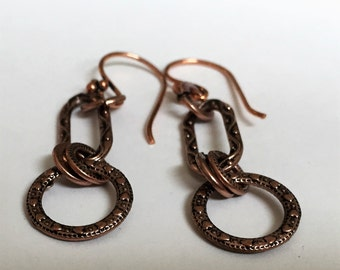 Beaten Copper Earrings