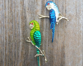 Green and Blue Parrot Brooches