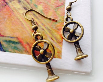 Funky Electric Fan Earrings-Drop Earrings