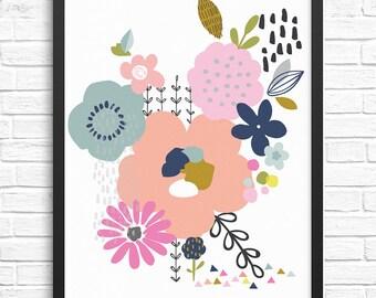 Springtime Floral Art Print/Wall Art/Illustration/Home Decor/A4
