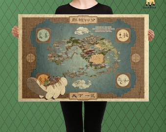 Avatar world map art etsy geek fan art avatar inspired map of the 4 nations world map custom sciox Gallery