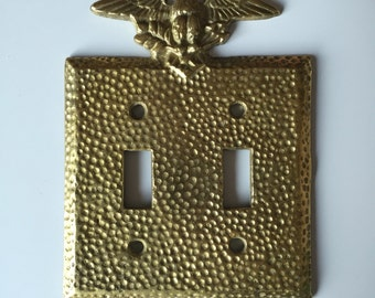 Midcentury Brass Light Double Switch Plate   Brass Eagle Switch Plate   Brass Light Switch Cover