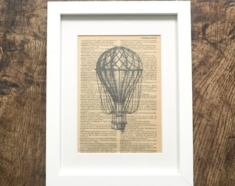 Vintage Book Print Hot Air Balloon Book Page Print in Frame