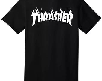 Thrasher Skateboard Magazine Flame Logo S-2XL