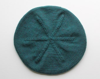 Wool Tam Hand Knit with Ribbed Band: Blue/Green 100% Wool Beret A Look to Fit the Season