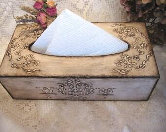 Tissue Box Cover Wooden tissue box for a kitchen Home decor Rustic Napkin organizer  Beige color box Bathroom organizer Beautiful Gift
