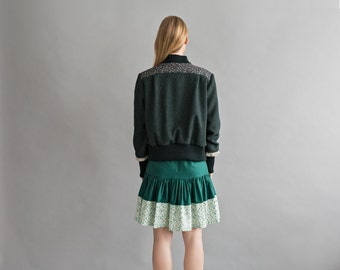 Bomber jacket - Woolen jacket - Womens jacket - Green bomber jacket - Moss green jacket - Fall clothes - Women outwear - Short jacket
