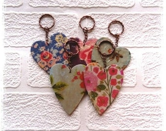 heart keyring, keyring, key chain, heart key chain, new home gift, cute keyring, shabby chic heart, shabby chic keyring, girls keyring